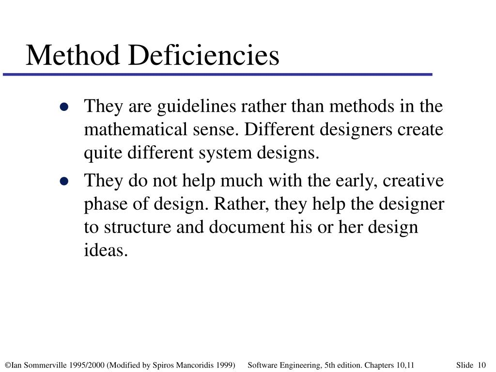 Method Deficiencies