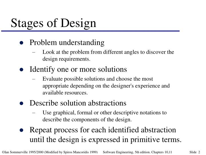 Stages of design