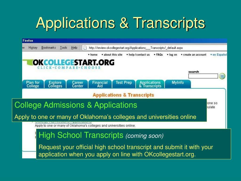 Applications & Transcripts