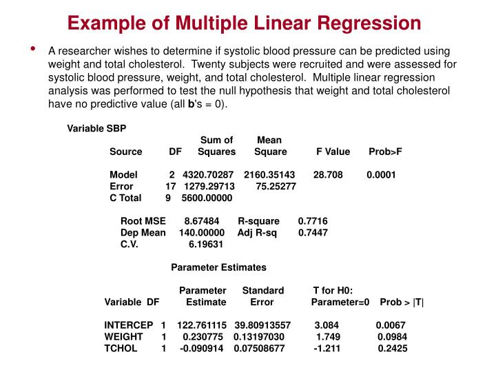 Example of Multiple Linear Regression