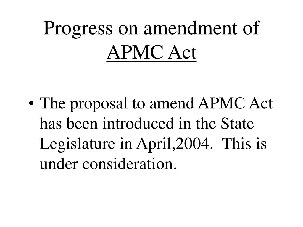 Progress on amendment of