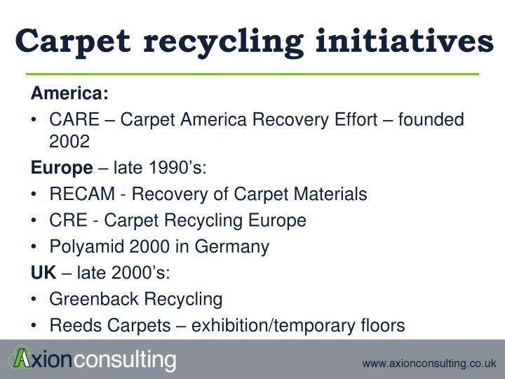Carpet recycling initiatives