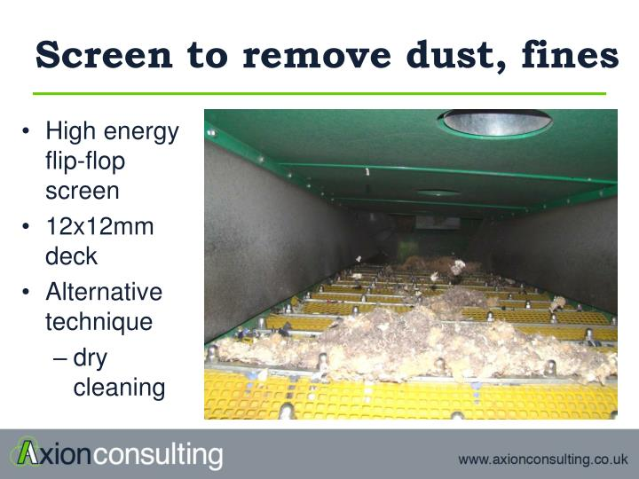 Screen to remove dust, fines