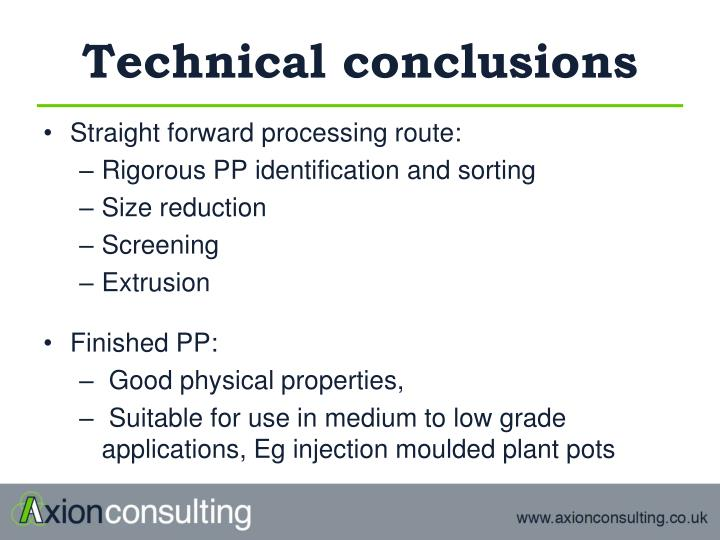 Technical conclusions