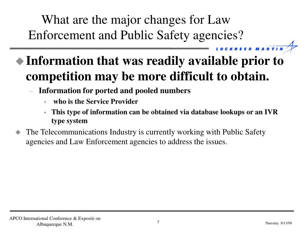 Change in law enforcement agencies essay