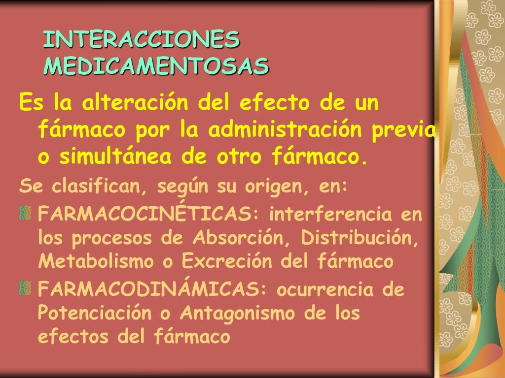 PPT - Interacciones Medicamentosas Clasificación y Origen