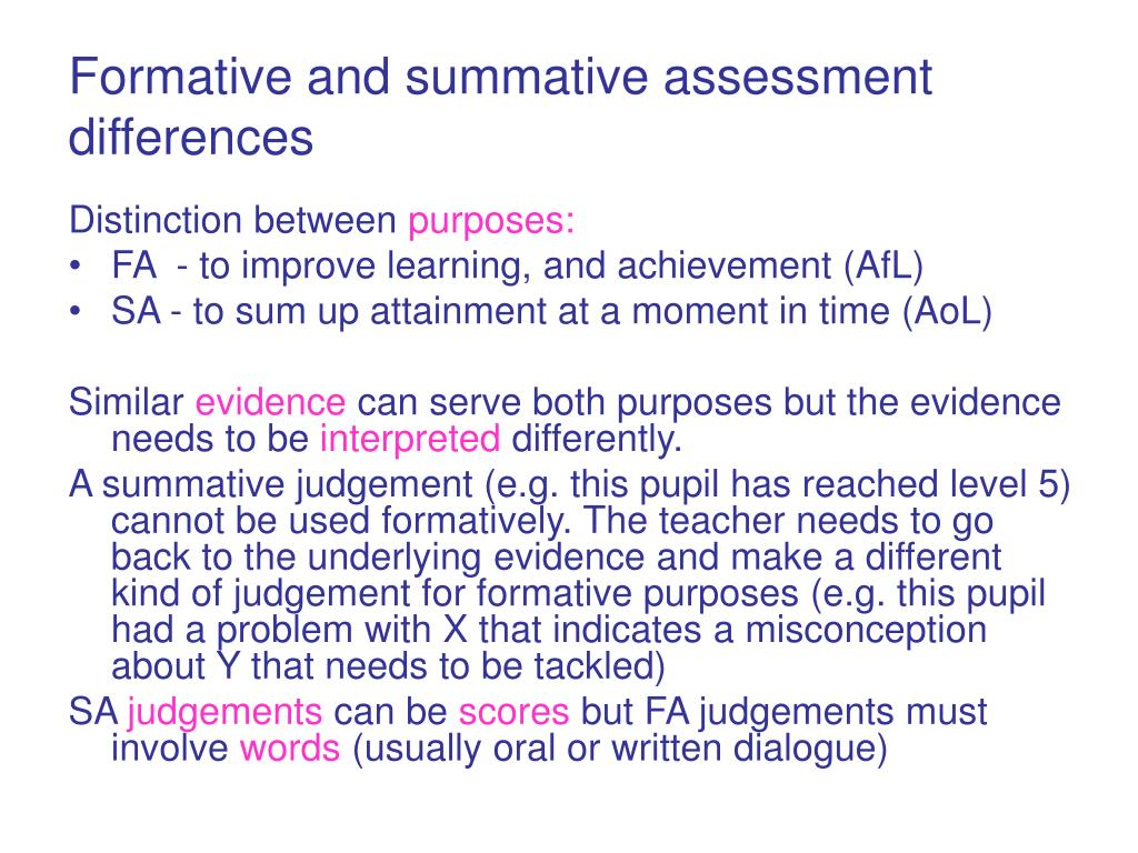 Formative and summative assessment differences