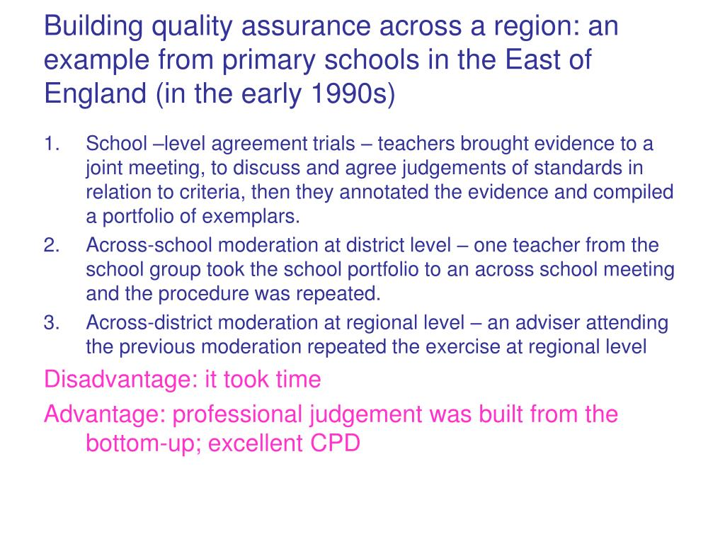 Building quality assurance across a region: an example from primary schools in the East of England (in the early 1990s)