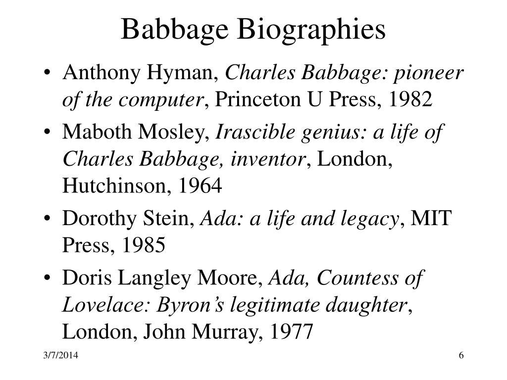 Babbage Biographies