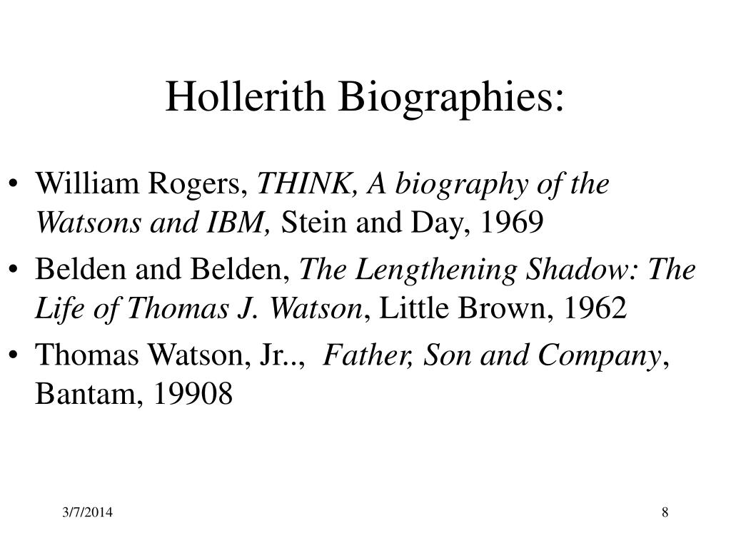 Hollerith Biographies: