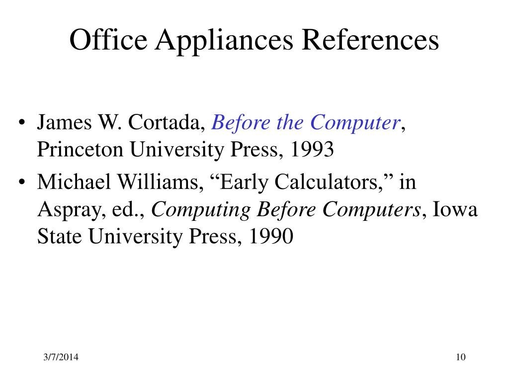 Office Appliances References