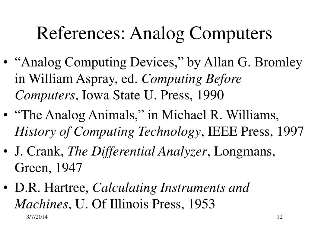 References: Analog Computers