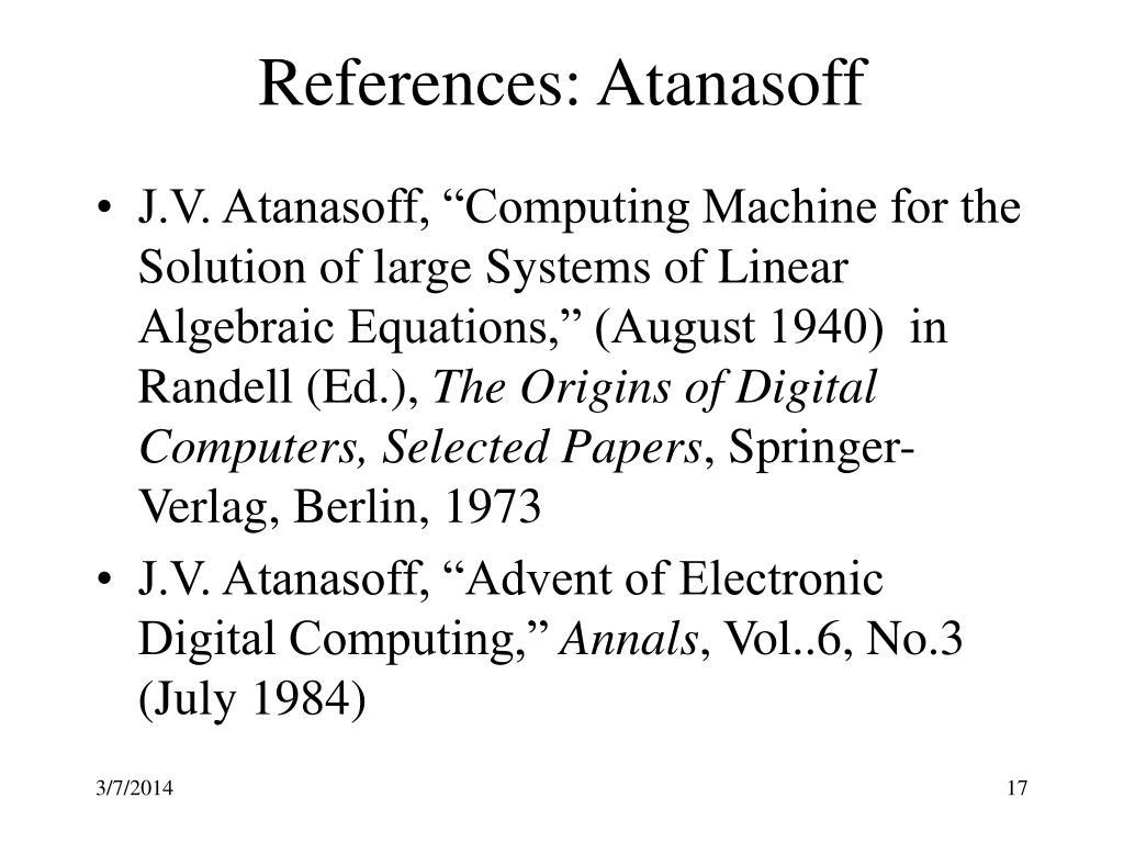 References: Atanasoff