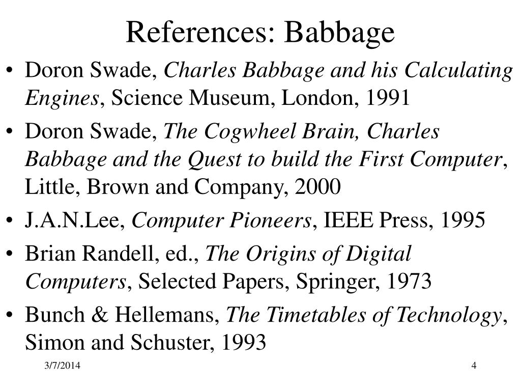 References: Babbage