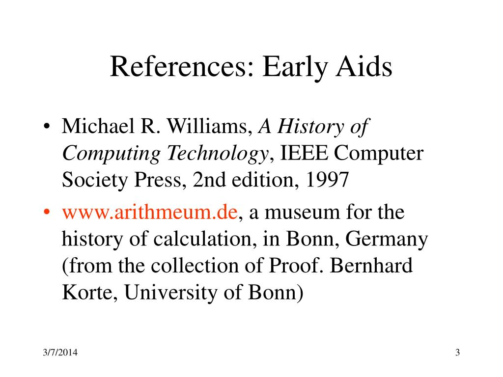 References: Early Aids
