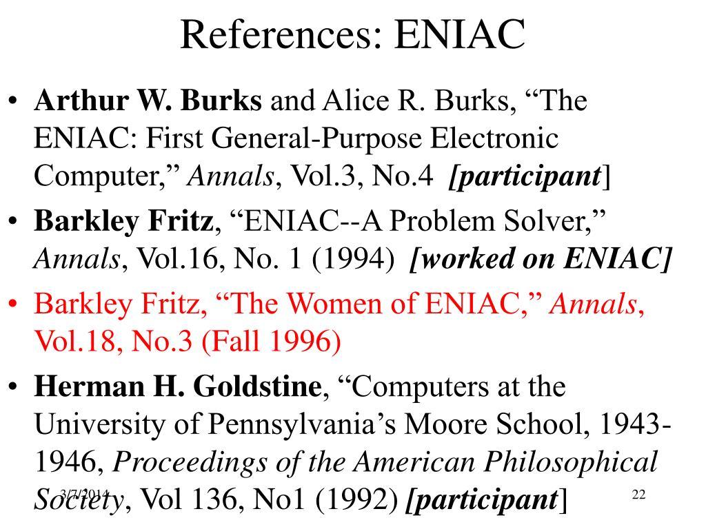 References: ENIAC