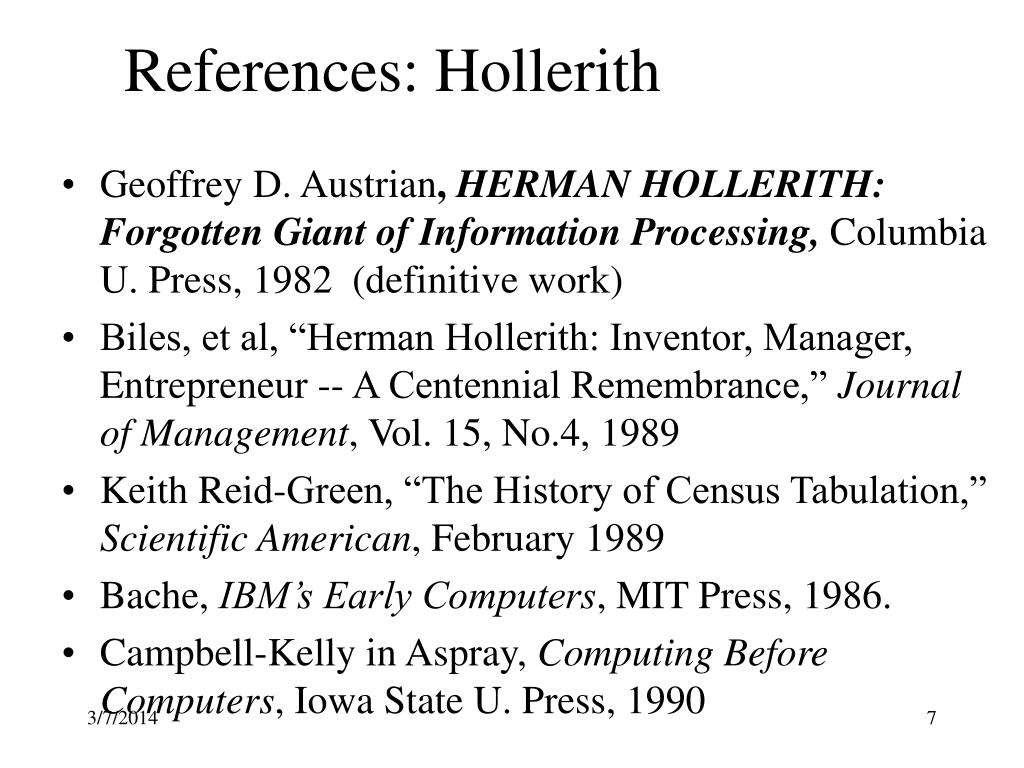 References: Hollerith