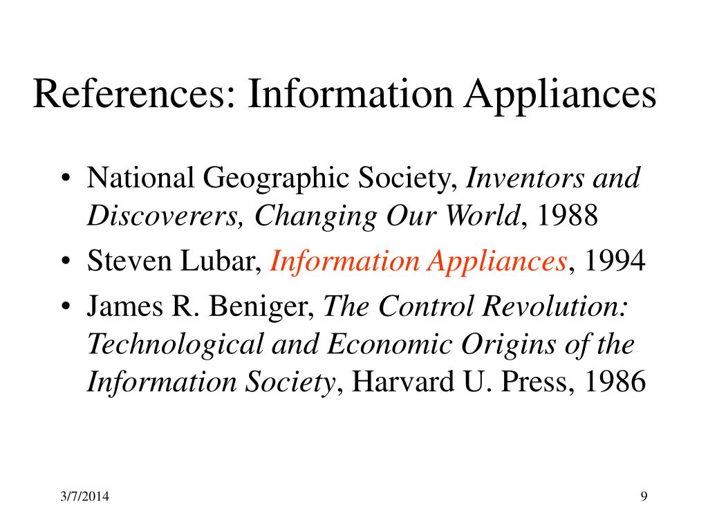 References: Information Appliances