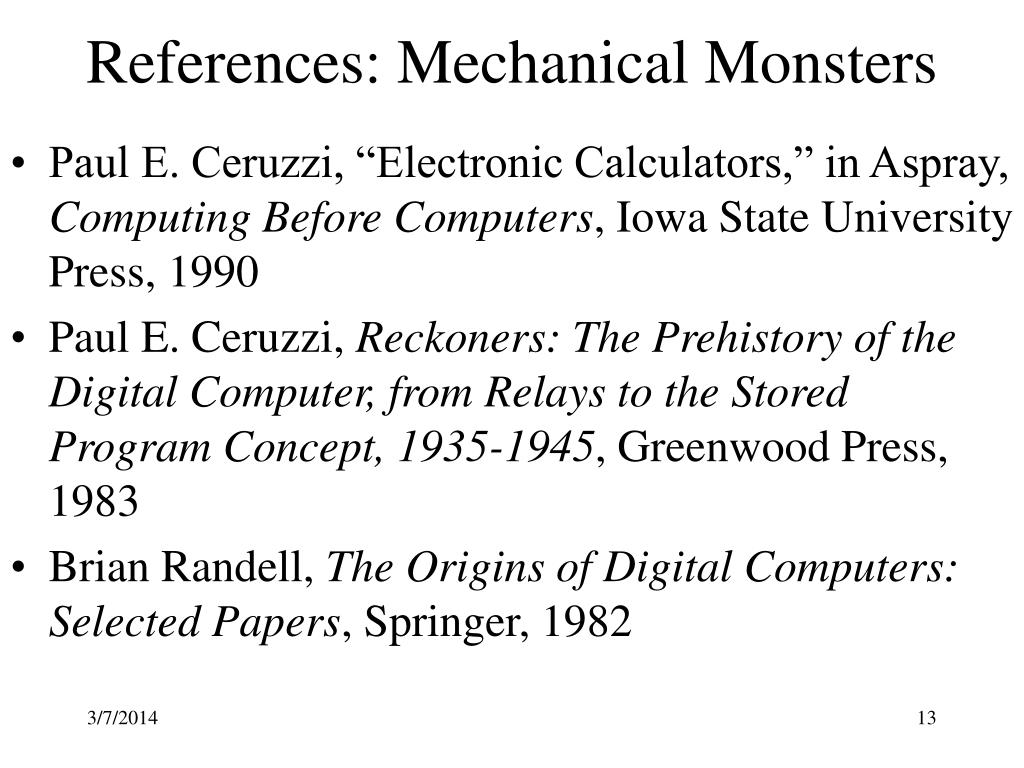 References: Mechanical Monsters