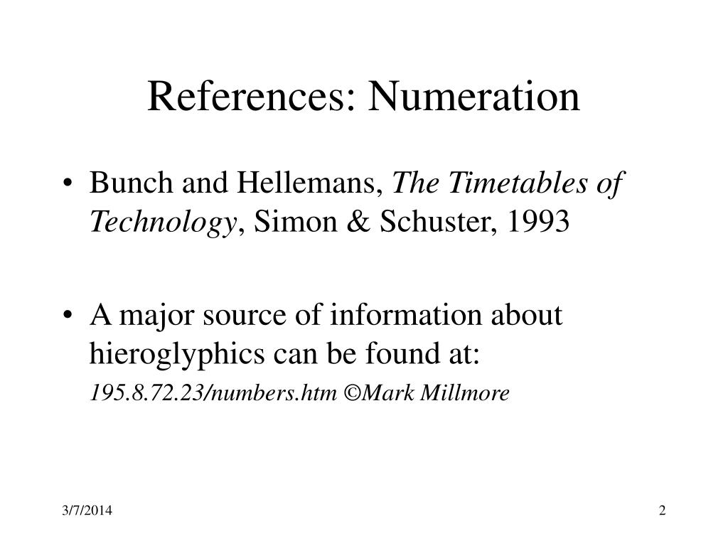 References: Numeration