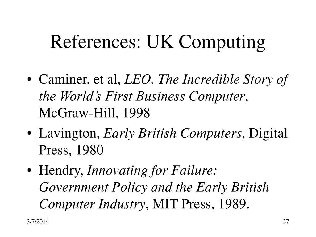References: UK Computing