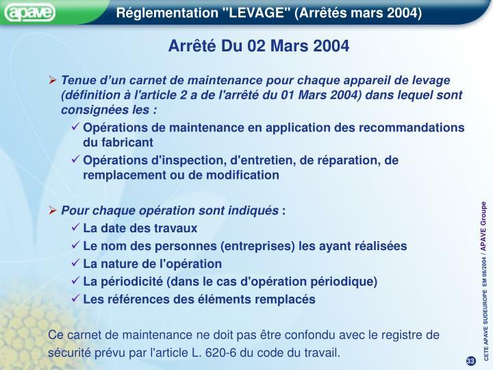 Arrêté Du 02 Mars 2004