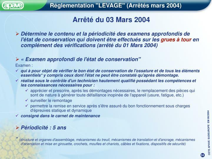 Arrêté du 03 Mars 2004