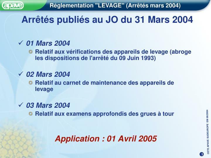 Arrêtés publiés au JO du 31 Mars 2004
