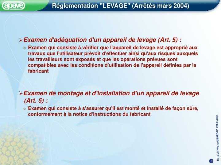 Examen d'adéquation d'un appareil de levage (Art. 5) :