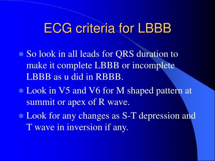 ECG criteria for LBBB