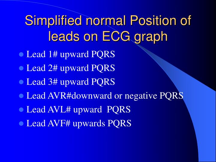 Simplified normal Position of leads on ECG graph