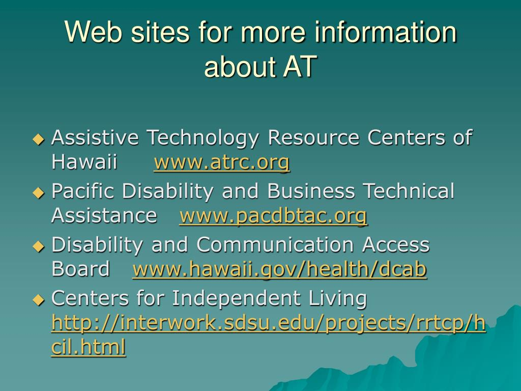 Web sites for more information about AT