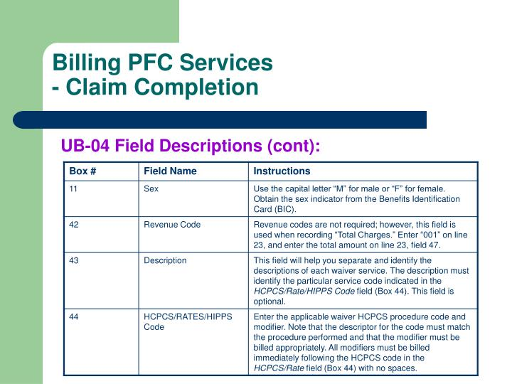Billing PFC Services