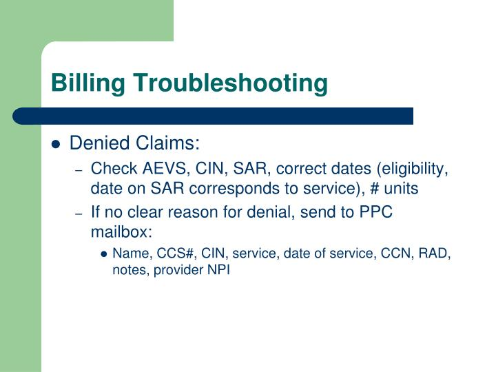 Billing Troubleshooting