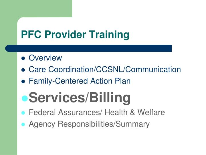 Pfc provider training