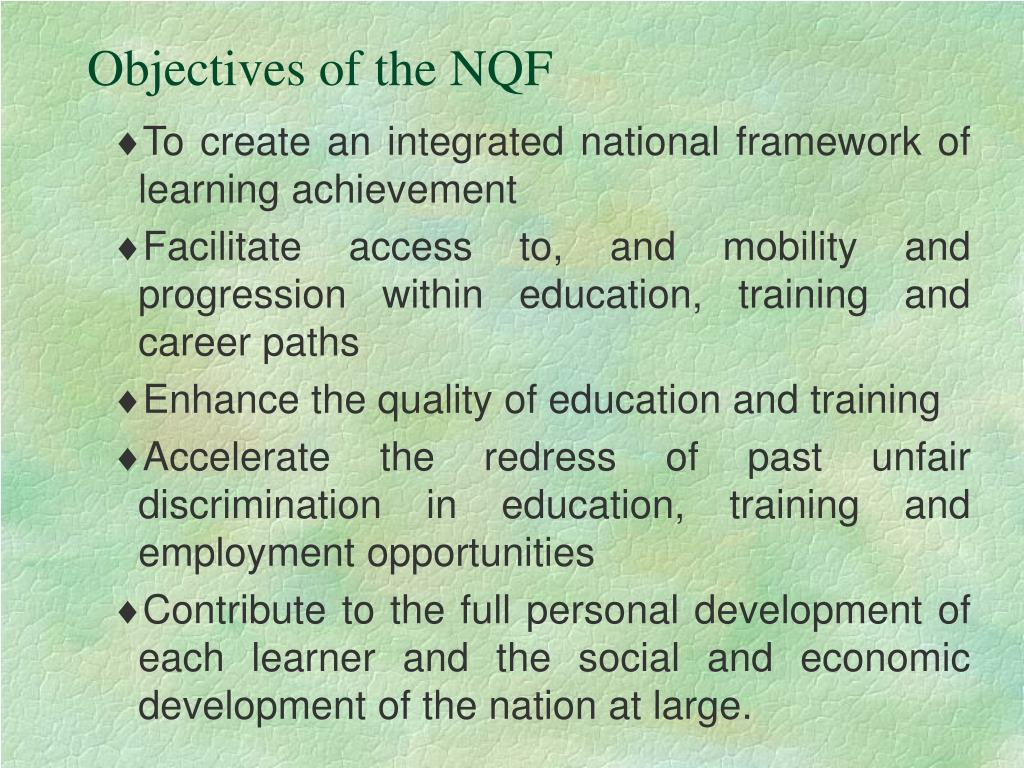Objectives of the NQF