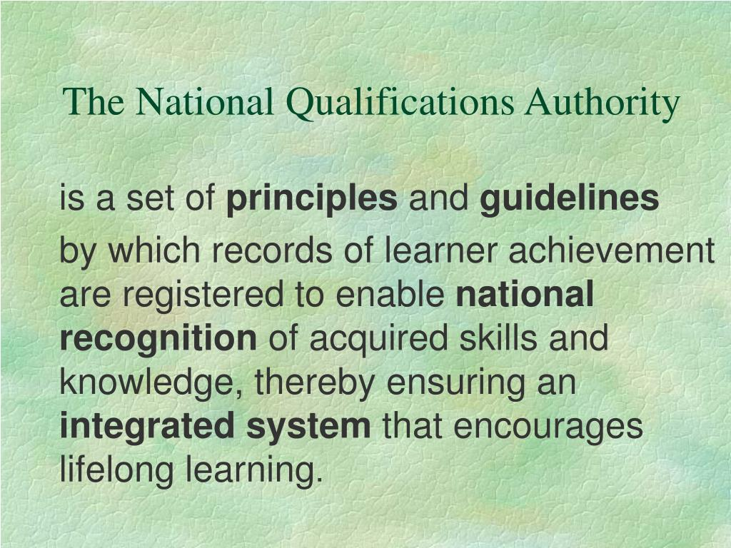 The National Qualifications Authority