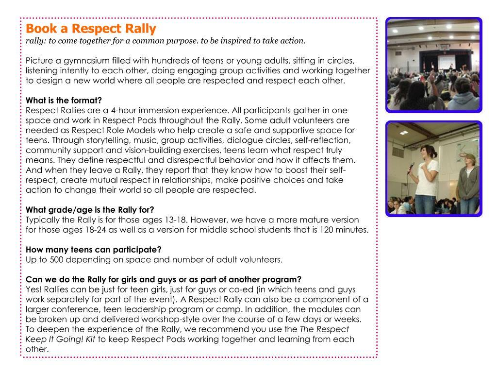 Book a Respect Rally