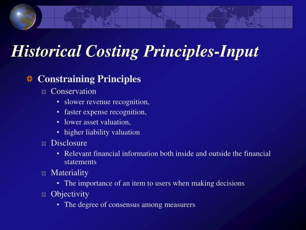 Historical Costing Principles-Input