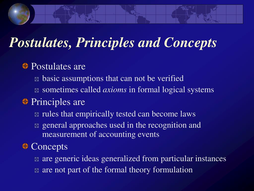 Postulates, Principles and Concepts