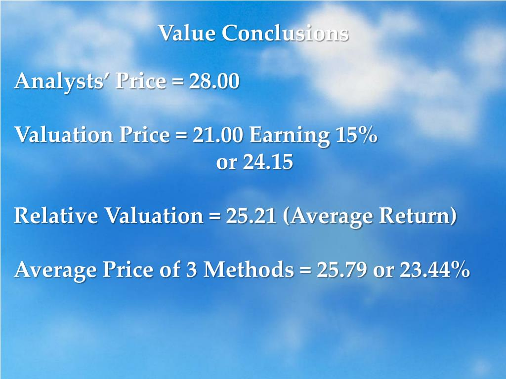 Value Conclusions
