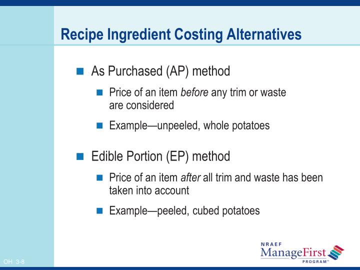 Recipe Ingredient Costing Alternatives