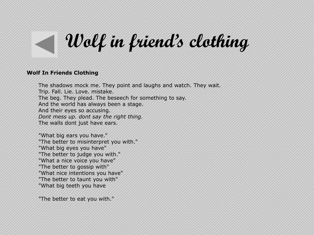 Wolf in friend's clothing