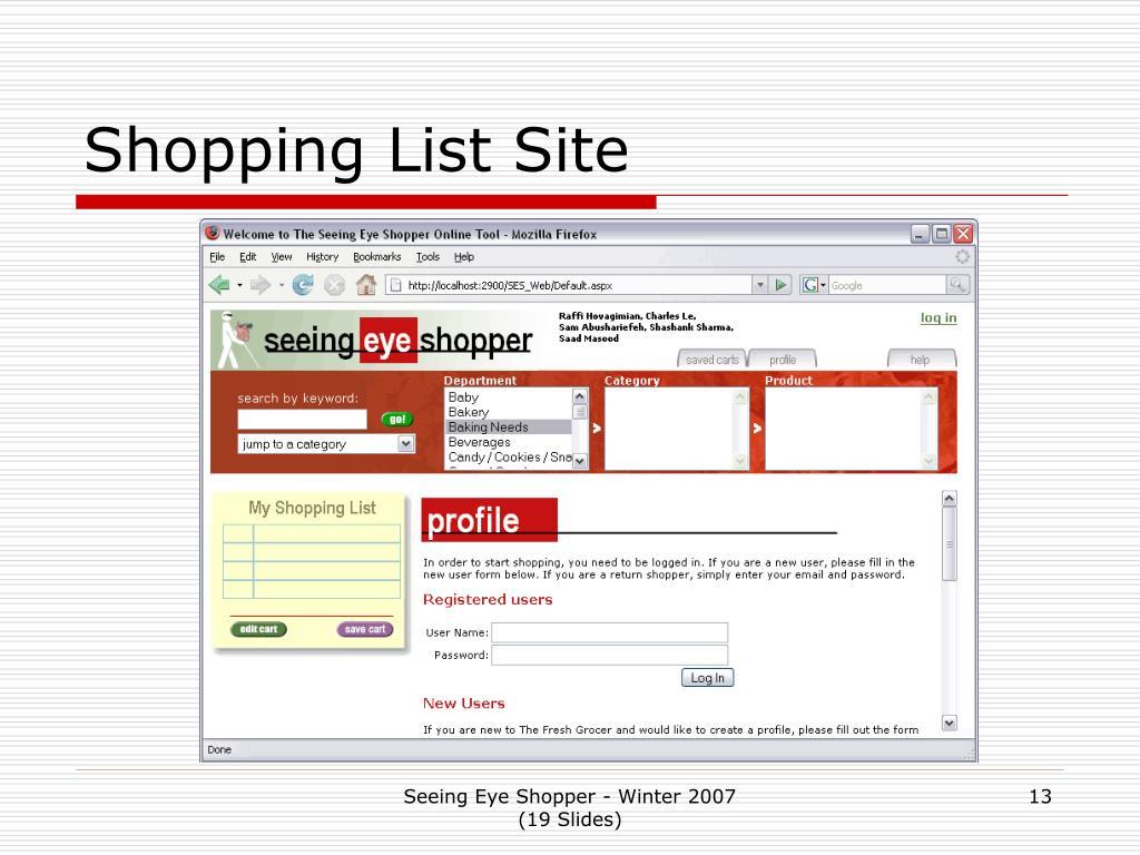 Shopping List Site