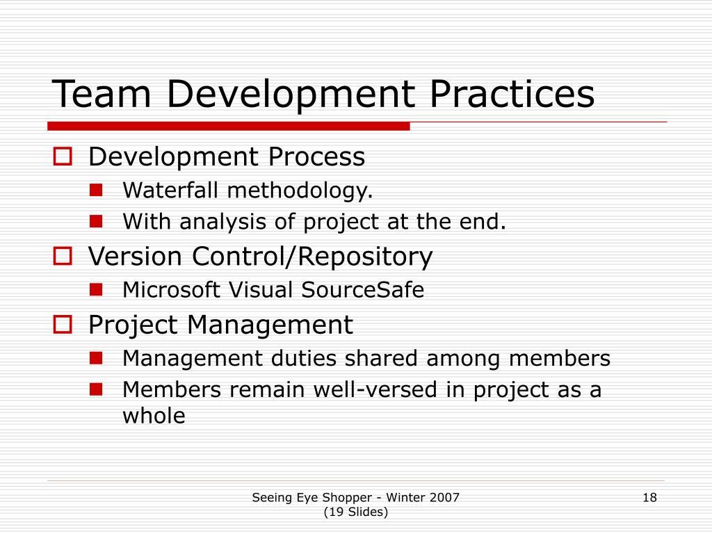 Team Development Practices