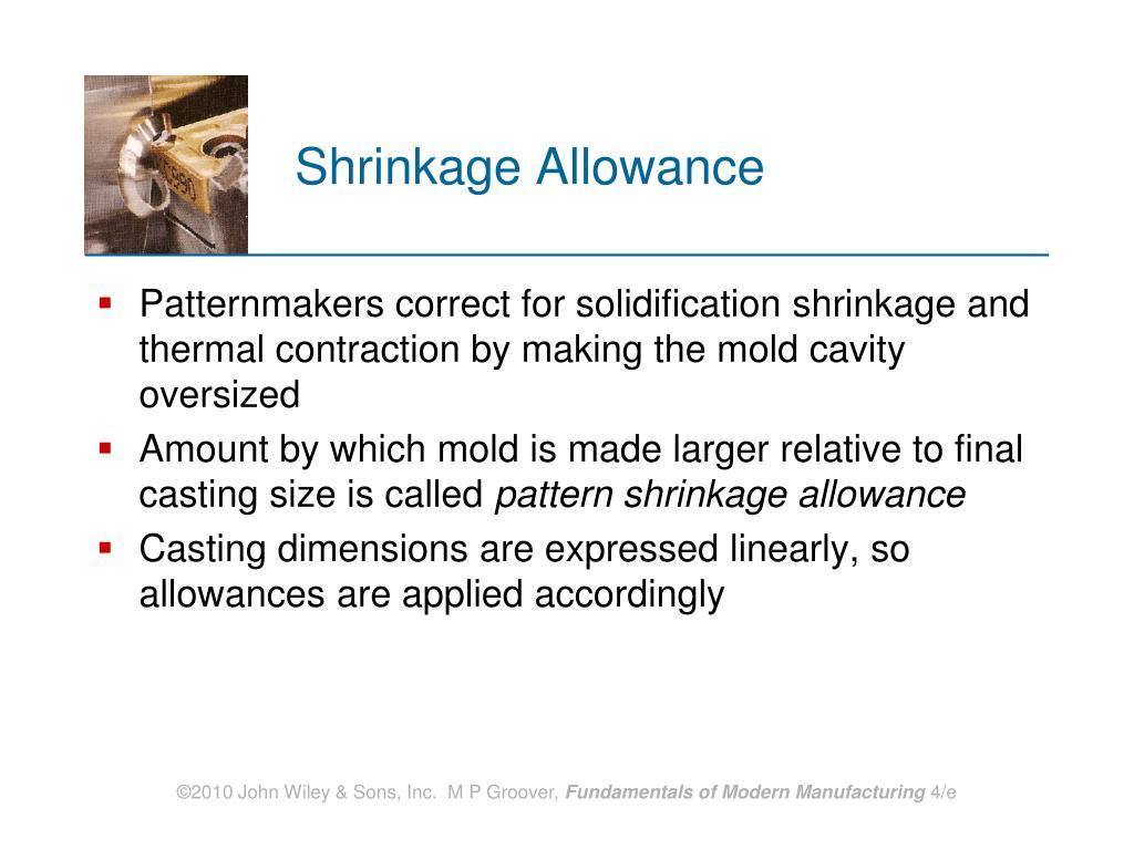 Shrinkage Allowance