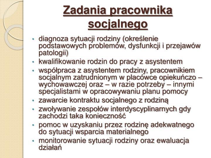 Zadania pracownika socjalnego