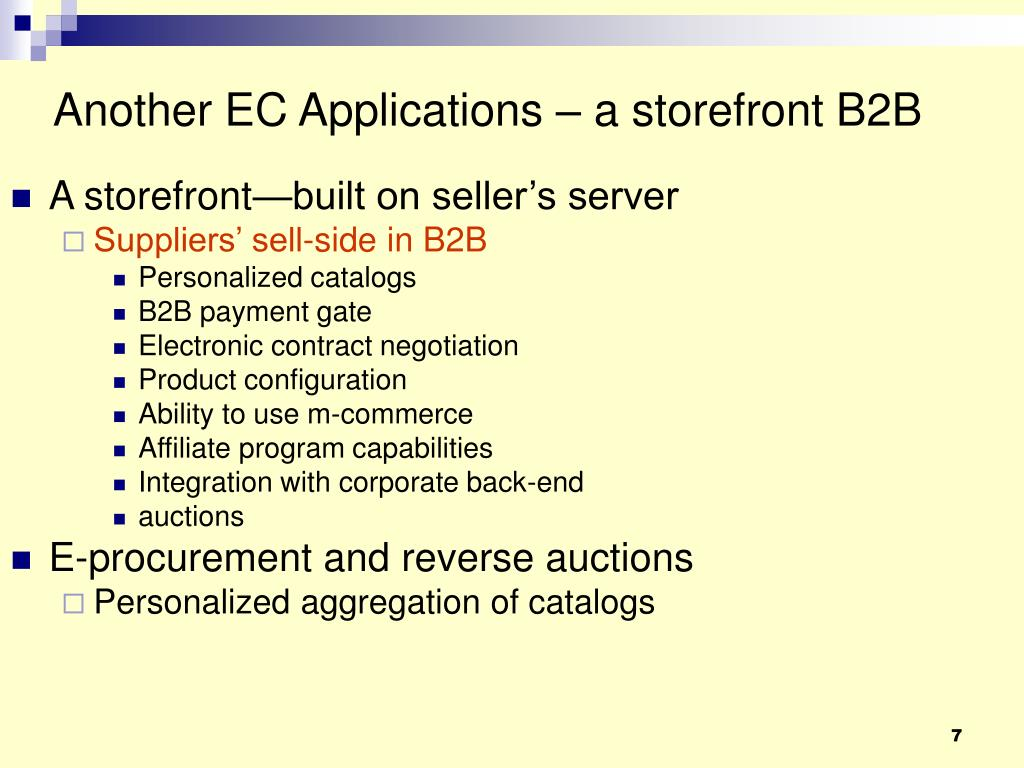 Another EC Applications – a storefront B2B