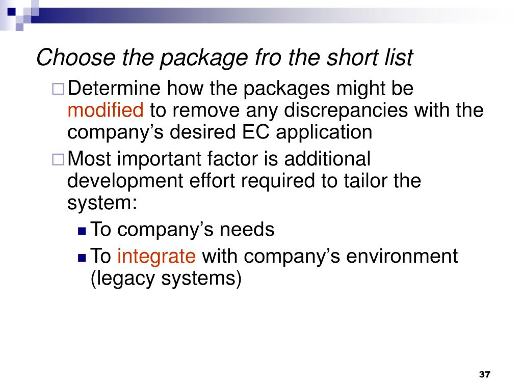 Choose the package fro the short list