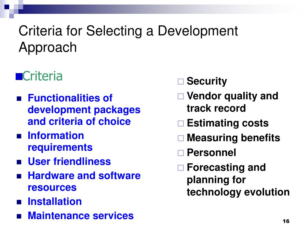 Functionalities of development packages and criteria of choice